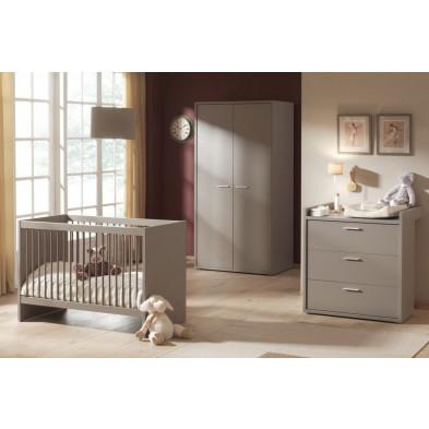 Composition chambre bébé complète design coloris gris en panneau de particules mélaminés collection Cabrafiga