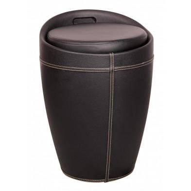 Pouf et tabouret noir design en plastique L. 35 x P. 35 x H. 50 cm collection Dulmen
