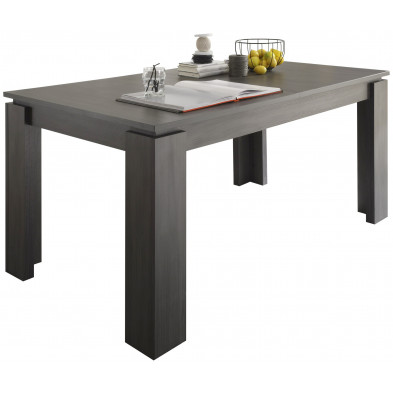 Table à manger extensible en Panneaux de particules mélaminés de haute qualité  coloris frêne gris  L. 160/200 x P. 90 x H. 77 cm collection Douai