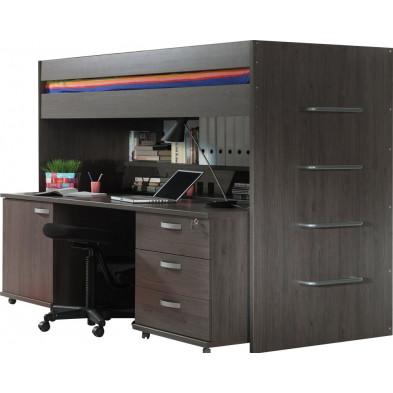 Lit combiné 90x200 cm marron contemporain en panneaux de particules mélaminés de haute qualité collection Ashwater
