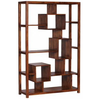 Bibliothèque marron contemporain en bois massif L. 115 x P. 40 x H. 180 cm collection Fluttering