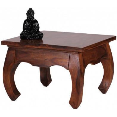 Table basse en bois marron contemporain en bois massif L. 60 x P. 60 x H. 40 cm collection Fluttering