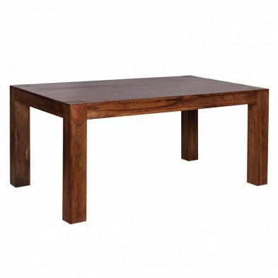 Table extensible marron rustique en bois massif L. 160 - 240 x P. 100 x H. 76 cm collection Fluttering