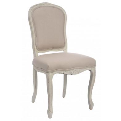 Chaise baroque Blanc en Bois massif 56 cm de largeur collection Opdencamp