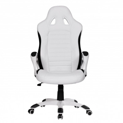 Chaise et fauteuil de bureau blanc design en PVC L. 56 x P. 62 x H. 122 - 130 cm collection Vansplunter