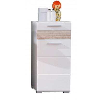 Armoire de rangement pour salle de bain 1 porte et 1 tiroir coloris blanc et chêne San Remo L. 37 x P. 31 x H. 79 cm collection Martham