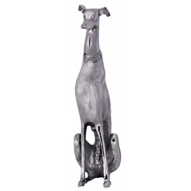 Décoration design statue de chien en aluminium coloris argent L. 18 x P. 25 x H. 70 cm collection C-Lescanec