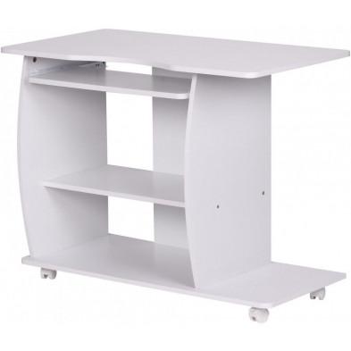 Bureau blanc design en bois mdf L. 90 x P. 50 x H. 71 cm collection Lithonia