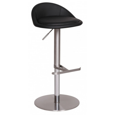 Tabouret de bar noir design en PVC  L. 46 x P. 26 x H. 50 cm collection Salone