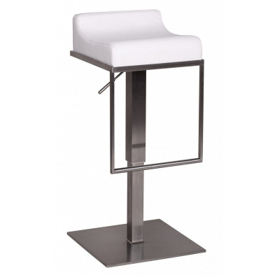 Tabouret de bar blanc design en PVC L. 44 x P. 43 x H. 54 cm collection Breboux
