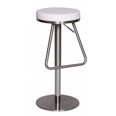 Tabouret de bar blanc design en pvc L. 39 x P. 39 x H. 54 - 81 cm collection Hibing