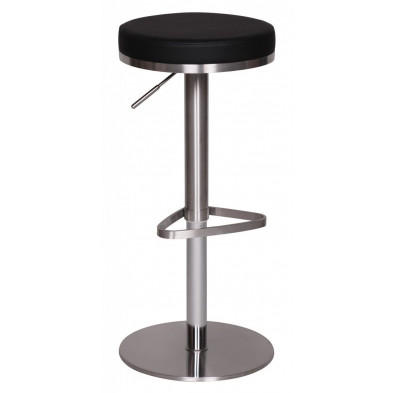 Tabouret de bar noir design en pvc  L. 39 x P. 39 x H. 57 - 82 cm collection Known
