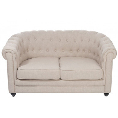 Canapé 2 places en tissu design Chesterfield coloris beige  collection