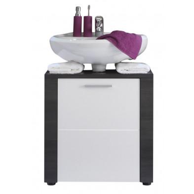 Meuble sous-vasque design 1 porte coloris frêne gris et blanc en panneau de particules agglomérées L. 60 x P. 35 x H. 62 cm collection Brawny