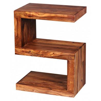 Table d'appoint marron contemporain en bois massif L. 44 x P. 30 x H. 59 cm collection Fluttering