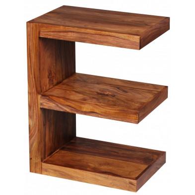 Table d'appoint marron contemporain en bois massif L. 44 x P. 30 x H. 60 cm collection Fluttering
