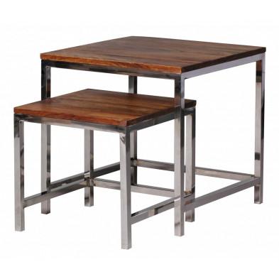Lot de 2 Table d'appoint marron contemporain en bois massif L. 45 x P. 45 x H. 45 cm collection Neudenau