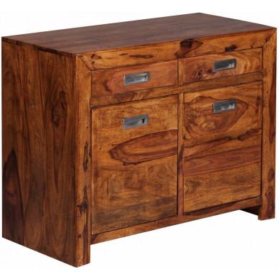 Commode et bibliothèque marron contemporain en bois massif L. 90 x P. 40 x H. 70 cm collection Fluttering