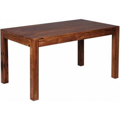 Table en bois marron rustique en bois massif L. 140 x P. 80 x H. 76 cm  collection Fluttering