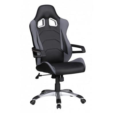 Chaise et fauteuil de bureau gris design en pvc L. 52 x P. 50 x H. 120 -130 cm collection Haakma
