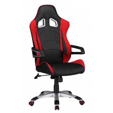 Chaise et fauteuil de bureau rouge design en pvc L. 52 x P. 50 x H. 120 -130 cm collection Haakma