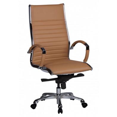 Chaise et fauteuil de bureau marron design en pvc L. 60 x P. 60 x H. 112 - 122 cm collection Boorsem