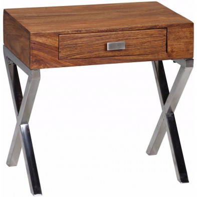 Chevet - table de nuit marron contemporain en bois massif L. 45 x P. 50 x H. 45 cm collection Agawam