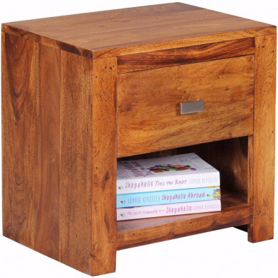 Chevet - table de nuit marron contemporain en bois massif L. 40 x P. 30 x H. 40 cm collection Agawam
