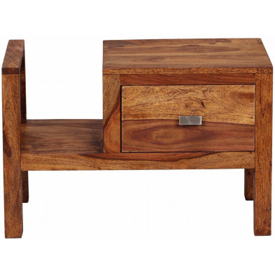 Chevet - table de nuit marron contemporain en bois massif L. 60 x P. 30 x H. 40 cm collection Agawam
