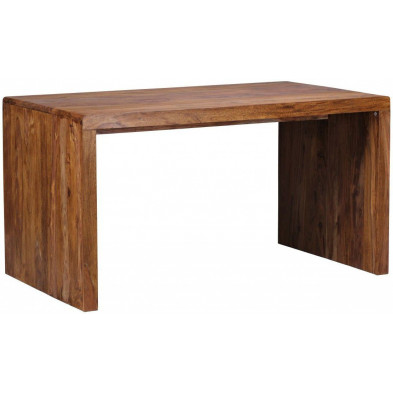 Bureau marron contemporain en bois massif L. 140 x P. 80 x H. 76 cm collection Aller