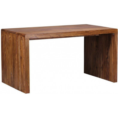 Bureau marron contemporain en bois massif L. 160 x P. 80 x H. 76 cm collection Aller