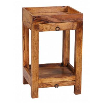 Table d'appoint marron contemporain en bois massif L. 40 x P. 40 x H. 65 cm collection Aller