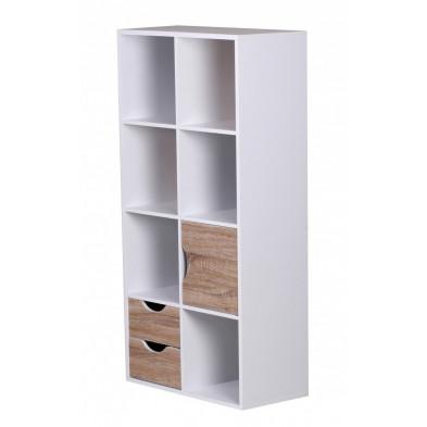 Bibliothèque blanc design en panneau de particules agglomérées L. 60 x P. 29 x H. 120 cm collection Pia