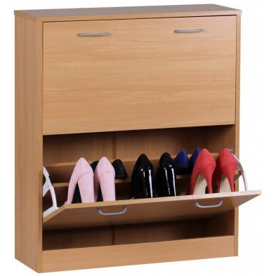 Meubles chaussures marron contemporain en panneau de particules agglomérées L. 24 x P. 24 x H. 87 cm collection Gitte