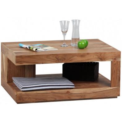 Table basse en bois marron contemporain en bois massif L. 90 x P. 60 x H. 40 cm collection Army