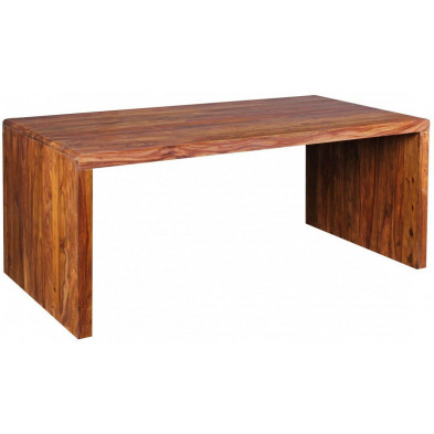 Bureau marron contemporain en bois massif L. 180 x P. 90 x H. 76 cm collection Vlekkem