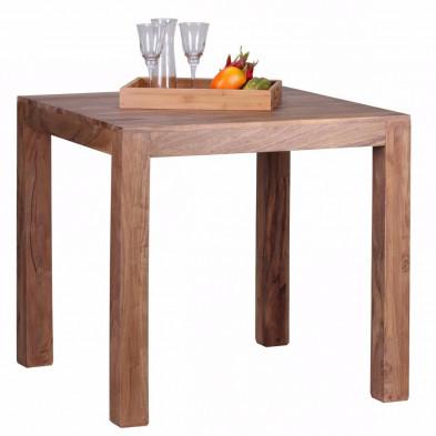 Table de salle à manger en bois massif marron rustique en bois massif L. 80 x P. 80 x H. 76 cm collection Army