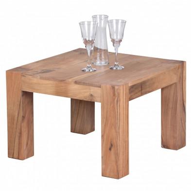 Table basse en bois marron contemporain en bois massif L. 60 x P. 60 x H. 40 cm collection Army