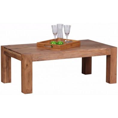 Table basse en bois marron contemporain en bois massif L. 110 x P. 60 x H. 40 cm collection Army