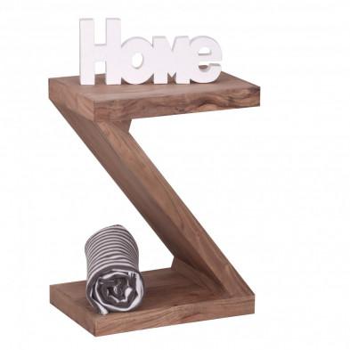 Table d'appoint design Z en bois massif d'acacia L. 44 x P. 30 x H. 59 cm collection C-Steven
