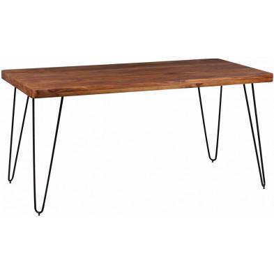Table en bois marron rustique en bois massif L. 160 x P. 80 x H. 76 cm collection Oving
