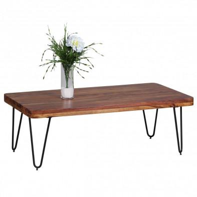 Table basse en bois marron contemporain en bois massif L. 115 x P. 60 x H. 40 cm collection Oving