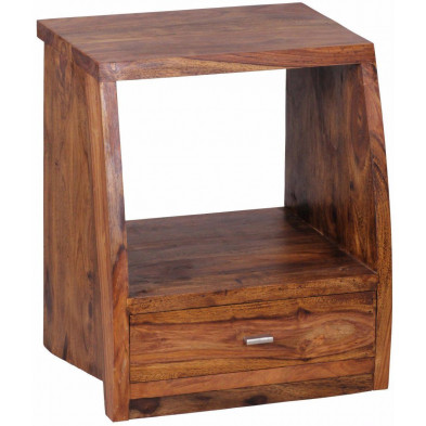 Chevet - table de nuit marron contemporain en bois massif L. 45 x P. 40 x H. 53 cm collection Oving
