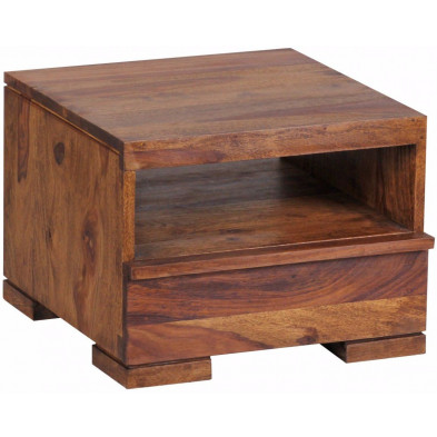 Chevet - table de nuit marron contemporain en bois massif L. 40 x P. 40 x H. 30 cm collection Oving