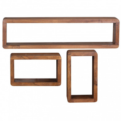 Lot de 3 Etagère murale marron contemporain en bois massif L. 80 x P. 15 x H. 20 cm collection Oving