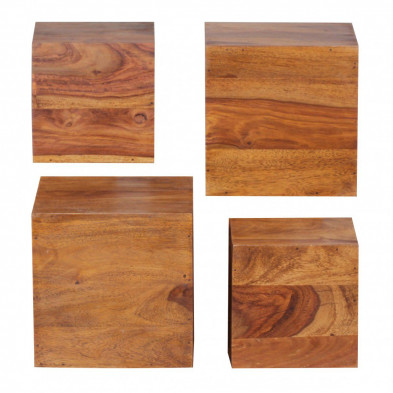 Lot de 4 Etagère murale marron contemporain en bois massif L. 25 x P. 25 x H. 25 cm collection Oving