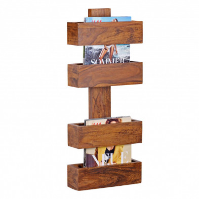 Etagère murale marron contemporain en bois massif L. 30 x P. 30 x H. 72 cm collection Oving