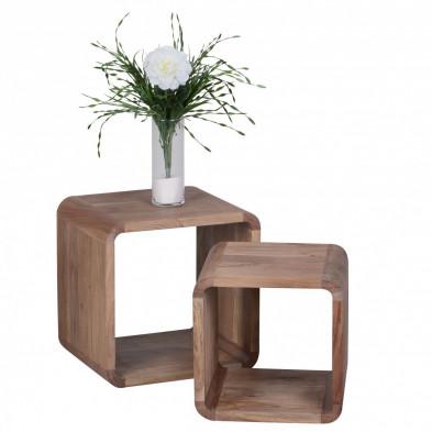 Lot de 2 Table d'appoint marron contemporain en bois massif L. 43 x P. 43 x H. 43 cm collection Army