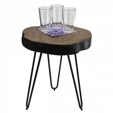 Table d'appoint ronde L. 35 x P. 35 x H. 46 cm avec un plateau en sheesham massif et 3 pieds en métal collection C-Tilly
