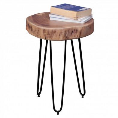 Table d'appoint marron contemporain en bois massif acacia L. 35 x P. 35 x H. 46 cm collection Army